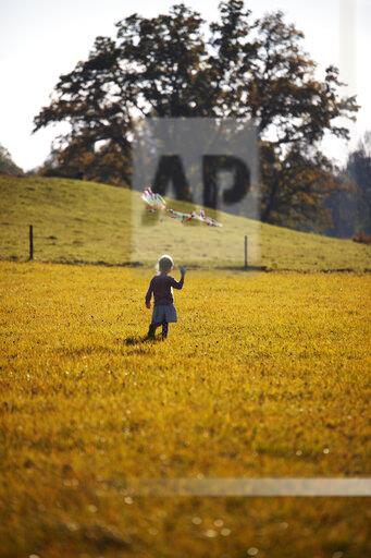 Little girl standing in field with kite