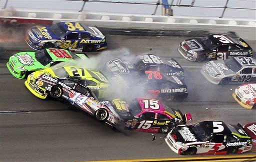 Tony Stewart, Kasey Kahne, Clint Bowyer, Terry Labonte, Regan Smith, Jeff Burton, Jimmie Johnson, Dale Earnhardt Jr., Paul Menard, David Ragan