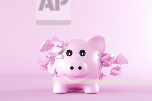 3D Rendering, Piggy bank bursting into pieces in front of pink background