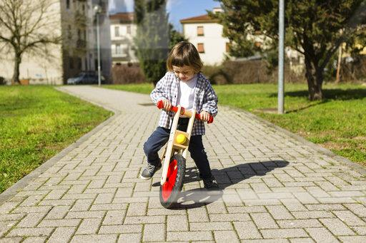 Toddler boy with balance bicycle on a path