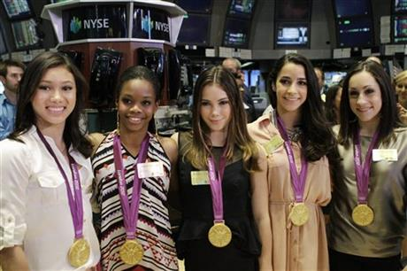 Kyla Ross, Gabby Douglas, McKayla Maroney, Aly Raisman, and Jordyn Wieber