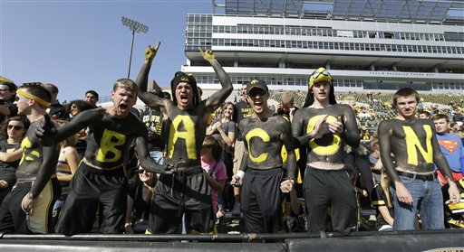University of Iowa students cheer before an NCAA college football game