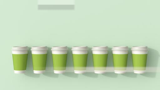 3D rendering, Row of green disposable coffee cups