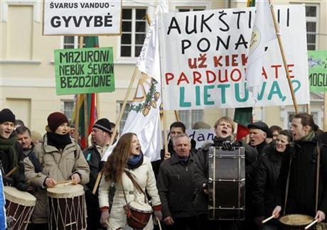CORRECTION Lithuania Protest