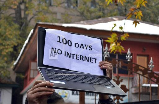 Protest against the Continuous Ban on Internet in Srinagar, India - 12 Nov 2019