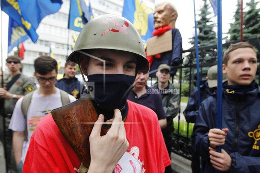 A protest against the cancellation decommunization law in Kiev, Ukraine - 21 May 2019