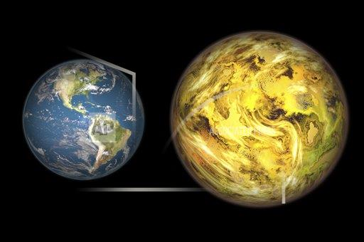 Creative AP T    horizontal Illustration comparing the size of extrasolar planet Gliese 581 c with that of the Earth.