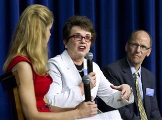 Billie Jean King, Bonnie Bernstein, Tom Perez