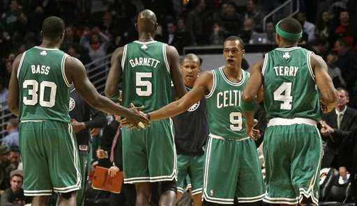Brandon Bass, Kevin Garnett, Rajon Rondo, Jason Terry