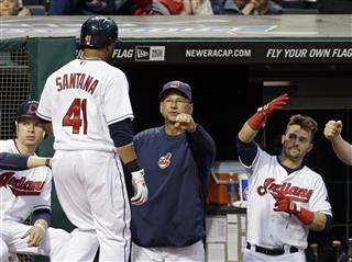 Carlos Santana, Terry Francona, Nick Swisher