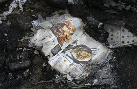 A burned magazine from the Malaysia Airlines Flight 17 plane is seen near village of Hrabove, eastern Ukraine, Tuesday, Sept. 9, 2014. (AP Photo/Sergei Grits)