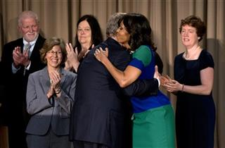 Tom Vilsack , Michelle Obama, Elizabeth Jones Kristen Nelson , George Stickles, Janice Johnston