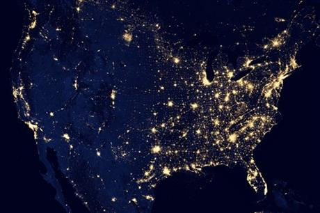 United States seen at night from satellite