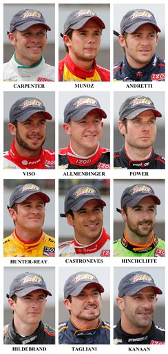 Ed Carpenter, Carlos Munoz, Marco Andretti, E.J. Viso, AJ Allmendinger, Will Power, Ryan Hunter-Reay, Helio Castroneves, James Hinchcliffe, JR Hildebrand, Alex Tagliani, Tony Kanaan