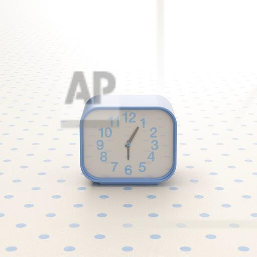 3D rendering, Alarm clock on background with polka dits