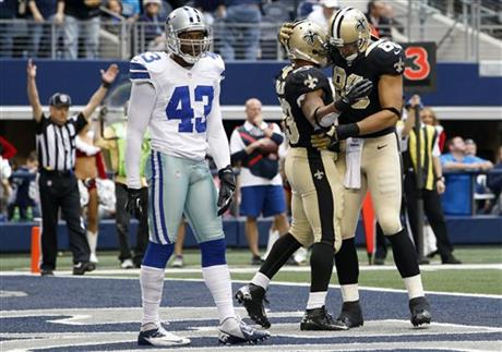 Gerald Sensabaugh, Pierre Thomas, Jimmy Graham