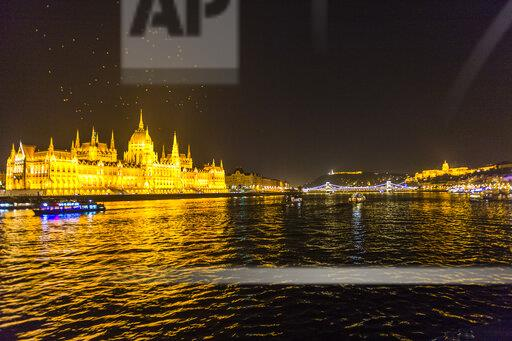 Hungary, Budapest, illuminated parliament by night