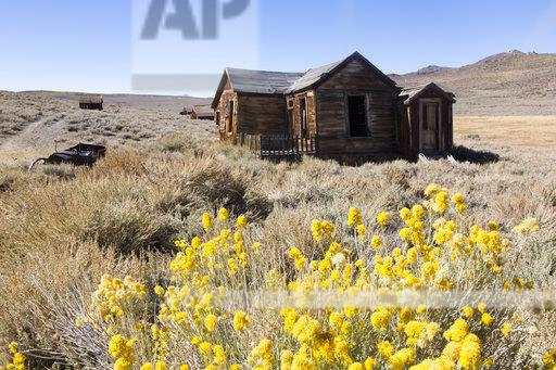 USA, California, Sierra Nevada, Bodie State Historic Park, abandoned wooden house