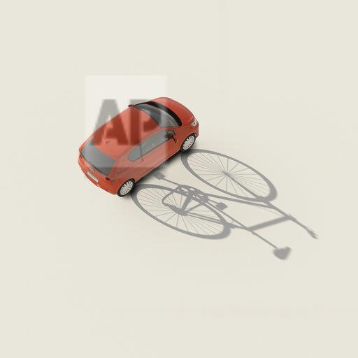 3D rendering, Red car casting shadow of a bicycle