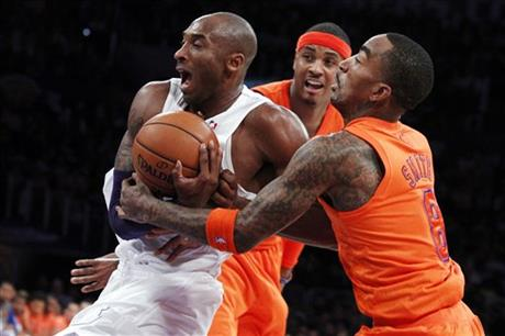 Kobe Bryant, J.R. Smith, Carmelo Anthony