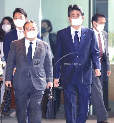 Japan's PM Abe arrives at office