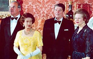 Queen Elizabeth II, Helmut Kohl, left, Ronald Reagan, second right, Margaret Thatcher