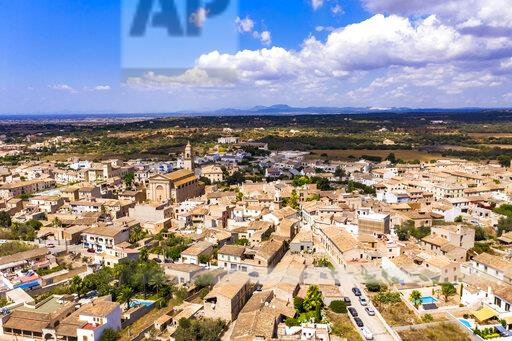 Aerial view of village Ses Salines with Esglesia Ses Salines, Mallorca, Spain