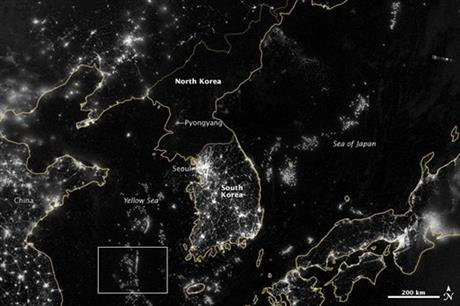 Korean Peninsula seen at night from satellite