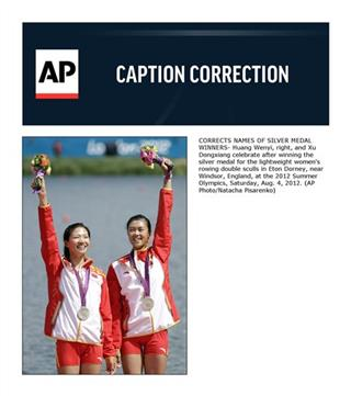 CORRECTION London Olympics Rowing Women