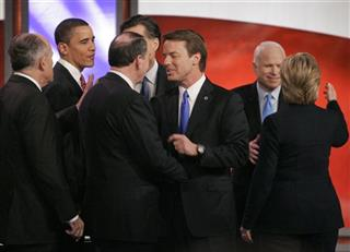 Rudy Giuliani, Barack Obama, Mike Huckabee, Mitt Romney, John Edwards, John McCain, Hillary Clinton