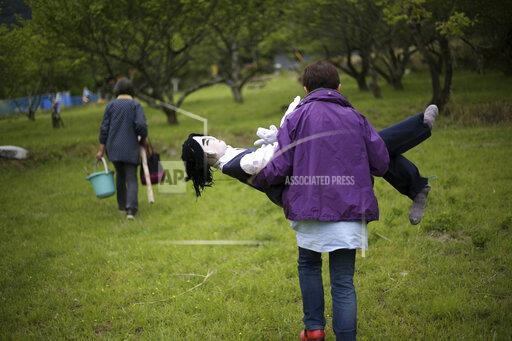 Humorous scarecrows in countryside