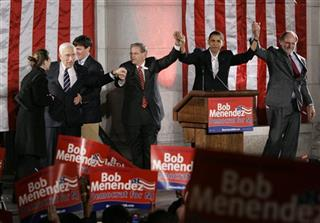 Robert Menendez, Barack Obama, Jon Corzine, Frank Lautenberg