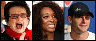 Billie Jean King, Venus Williams, Andy Roddick