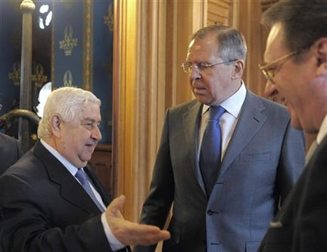 Walid Muallem, Sergey Lavrov, Mikhail Bogdanov