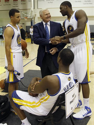 Jerry West, Festus Ezeli, Stephen Curry, Harrison Barnes