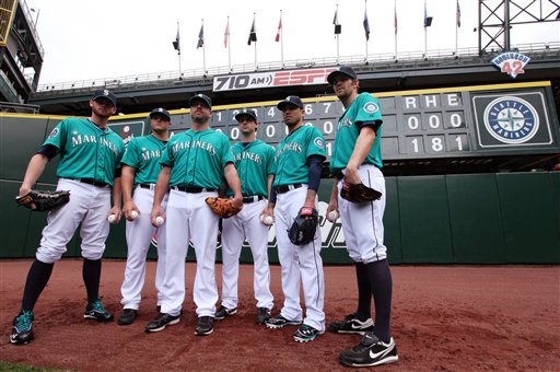 Kevin Millwood, Charlie Furbush, Stephen Pryor, Lucas Luetge, Brandon League, Tom Wilhelmsen
