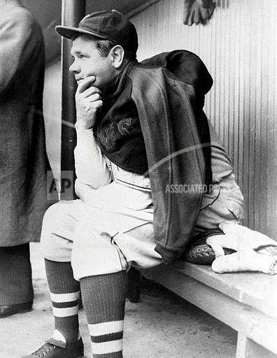 Associated Press Sports Illinois United States Professional baseball (American League) BABE RUTH IN THE DUGOUT