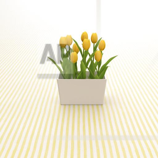 3D rendering, Yellow tulips on striped background