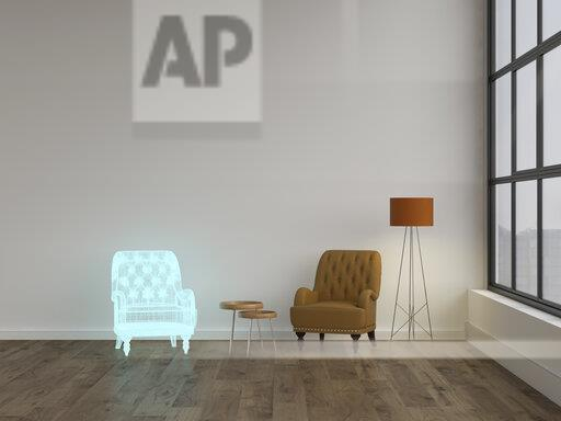 3D rendering, Hologram of armchair in modern living room with floor lamp