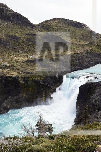 Chile, Patagonia, River and mountains of Torres del Paine National Park
