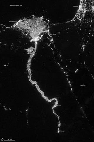 Nile River Valley Delta seen at night from satellite