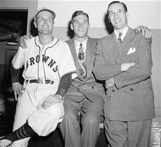 Jack Kramer with Hal Newhouser and Bob Feller
