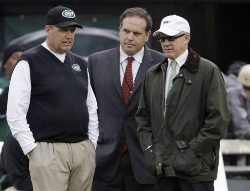 Rex Ryan, Mike Tannenbaum, Woody Johnson