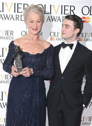 Helen Mirren winner of Best Actress Award for The Audience and Daniel Radcliffe