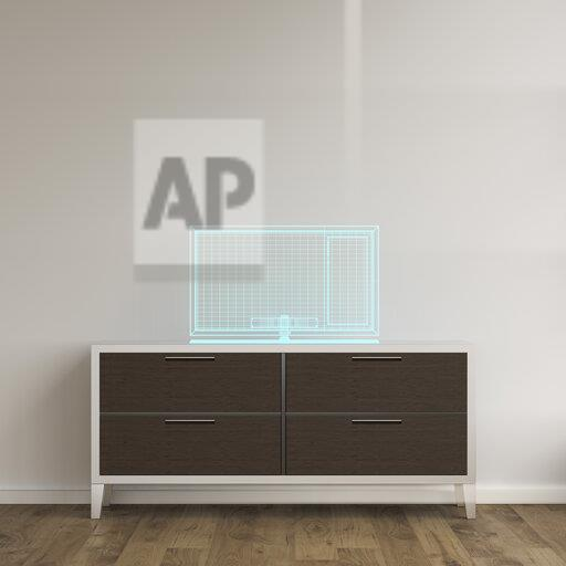 3D rendering, Holgram of a TV set on a sideboard