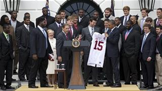Barack Obama,  AJ McCarron, Nick Saban, Judy Bonner