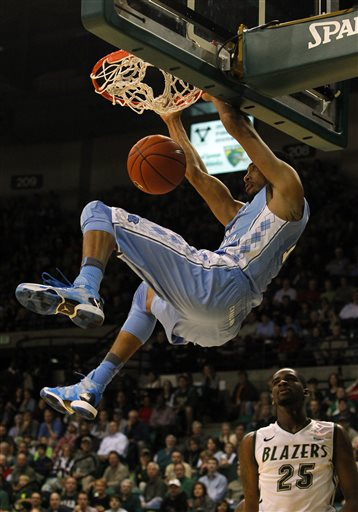 North Carolina forward Kennedy Meeks  3  slam dunks the ball during    Kennedy Meeks Dunk