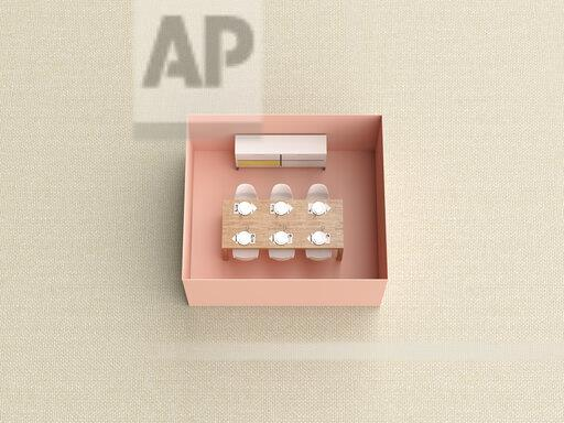 3D rendering, Miniature dining room in a box