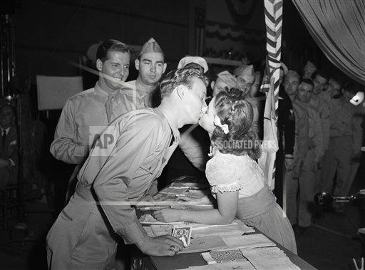 Watchf Associated Press Domestic News Entertainment California United States APHS216153 Shirley Temple Kissed 1945