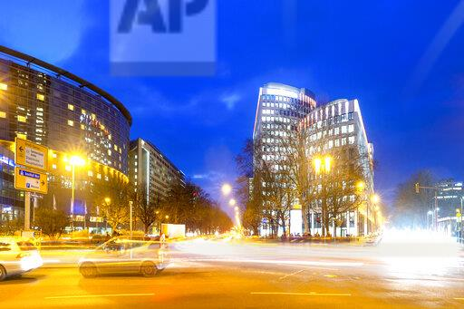 Germany, Hesse, Frankfurt, View of roundabout at Friedrich-Ebert court at blue hour